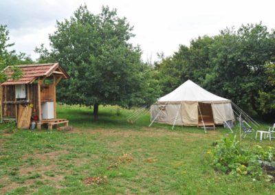 Camping, yurt met eigen sanitair